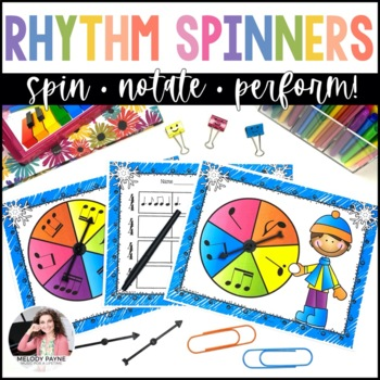 Winter Rhythm Spinners for Elementary Music Students {Color and Ink-Friendly}