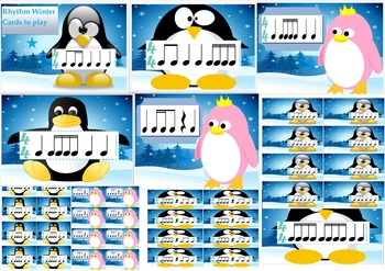 Winter Rhythm flash cards and Memory game penguin music