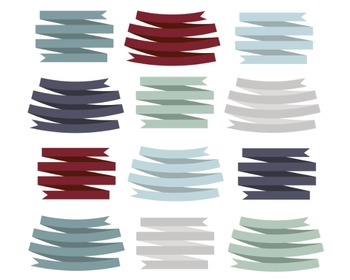 Winter Ribbons Clipart, Digital Clipart, Winter Ribbons Set #106