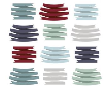Winter Ribbons Clipart, Digital Clipart, Winter Ribbons Set #106