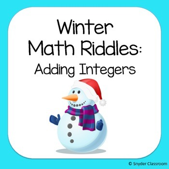 Winter Adding Integers Math Riddles