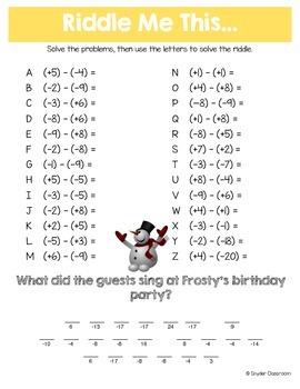Winter Integers Math Riddle Bundle