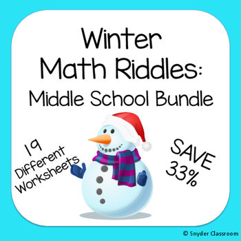 Winter Math Riddles : Middle School Bundle
