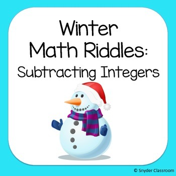 Winter Subtracting Integers Math Riddles