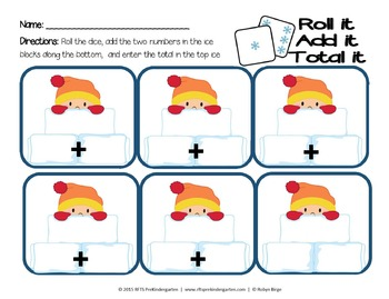 Winter (Roll It Total It) Math Center