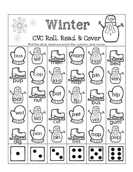 winter cvc roll read and cover pack by little learning lane tpt. Black Bedroom Furniture Sets. Home Design Ideas