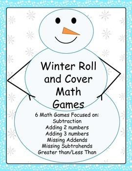 Winter Roll and Cover Math Games - Addition, Subtraction, Missing Addends