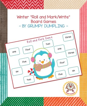 Winter Roll and Mark/Write Board Games