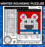 Winter Round to the Nearest 10 Coloring Puzzle