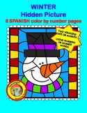 Winter SPANISH Hidden Picture color by number pages (8 pages 4 ways)