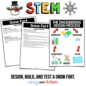 Build a Snow Fort Winter STEM Activity + TpT Digital Distance Learning