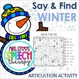 Winter Say and Find NO PREP PRINT AND GO Articulation Activity