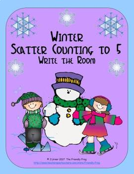 Winter Scatter Counting to 5: Write the Room