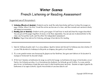 Winter Scenes French Listening or Reading Assessment