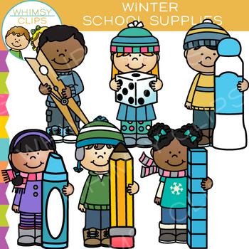 School Supplies for Winter Clip Art