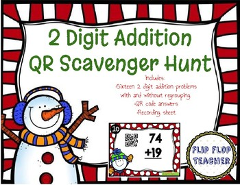 Winter Scoot - 2 Digit Addition (with and without regrouping)
