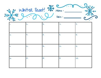 Winter Scoot Recording Sheet 1-20