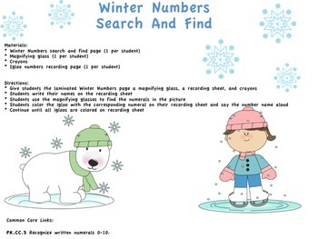 Winter Search and Find Numbers