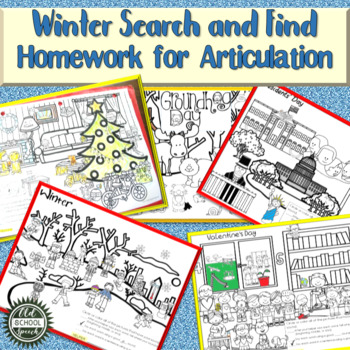 Winter Search and Find Homework for Articulation