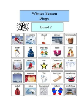 Winter Season Bingo - Five Boards - Visual pictures