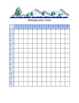 Winter Season Blank Multiplication Chart
