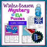 3rd Grade Winter Season ELA Mystery Puzzles: Third Grade ELA Skills