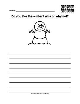 Winter Season Opinion Writing Pack