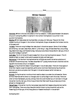 Winter Season Review Article Questions Activities 9 pages