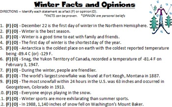 Winter Season Writing and More -- 15 worksheets