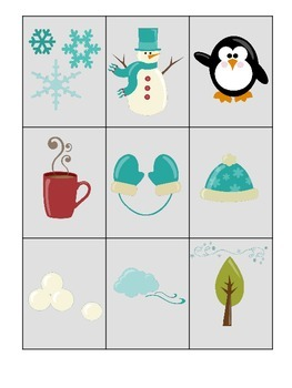Winter Season themed 3 Part Matching preschool learning game. Daycare curriculum