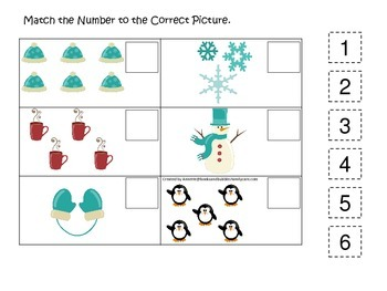Winter Season themed Match the Number math game.  Preschool, pre-k, daycare.