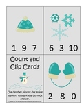 Winter Season themed Math Count and Clip preschool learning activity. Early math