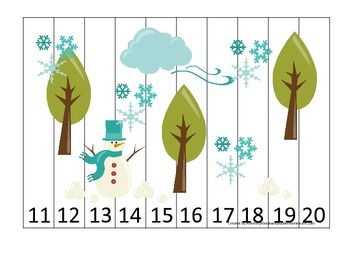 Winter Season themed Number Sequence Puzzle 11-20 early math activity.  Puzzle g