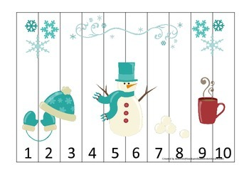 Winter Season themed Number Sequence Puzzle early math activity.  Child puzzle.