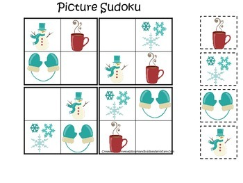 Winter Season themed Picture Sudoku preschool learning game. Daycare curriculum