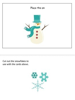 Winter Season themed Postional Cards preschool learning activity. Daycare.
