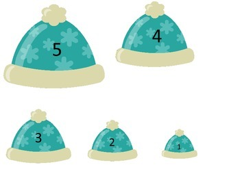 Winter Season themed Size Sequence preschool learning game.  Daycare curriculum.