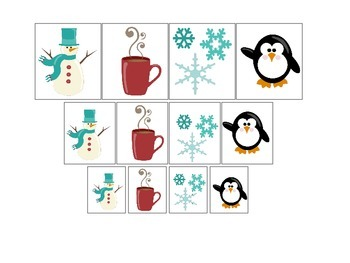 Winter Season themed Size Sorting preschool learning game. Daycare curriculum