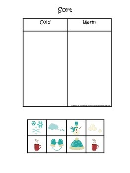 Winter Season themed Sorting warm and cold preschool learning game. Daycare.