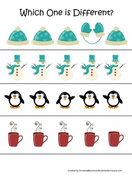 Winter Season themed Which One is Different preschool learning game. Daycare.
