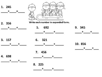 Winter Second Grade Place Value, Word Problems and Two-Digit Addition Review