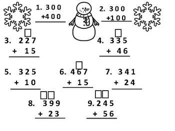 Winter Second Grade Three-Digit Addition Review