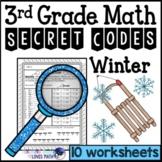 Winter Secret Code Math Worksheets 3rd Grade Common Core