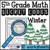 Winter Secret Code Math Worksheets 5th Grade Common Core