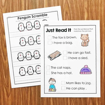 Winter Sentence Activities for Kindergarten