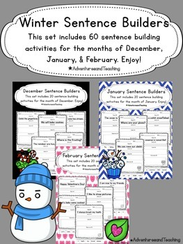 Winter Sentence Builders {morning work, word work, daily 5, & centers}