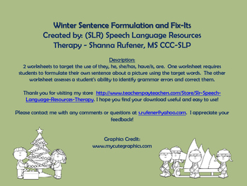 Winter Sentence Formulation and Fix-Its