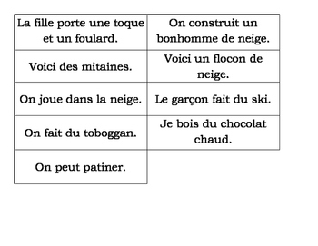 Winter Sentence Matching Book - French