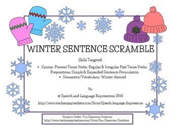 Winter Sentence Practice (Sentence Parts Scramble)
