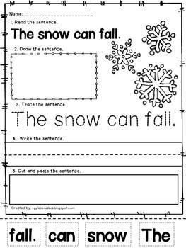 Winter Sentence Printables